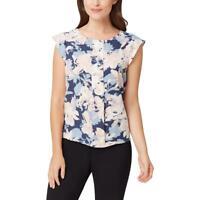 Tahari ASL Womens Pleated Floral Print Cap Sleeves Blouse Top BHFO 9226