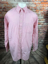 ASCOT CHANG MEN'S CORAL STRIPED COTTON LONG SLEEVE CASUAL SHIRT SIZE LARGE