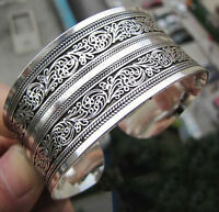 Fashion Women Chinese Totem Bangle Cuff Bracelet Tibetan Tibet silver Gift SEAU