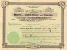 Hercules Molybdenum Corporation > 1928 old stock certificate