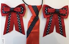 Childs Equestrian Showing Set, Show Tie And Bows RED With Navy Spot – Lead Rein