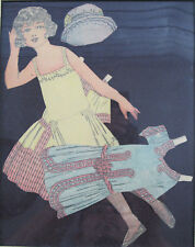 Antique Flapper Girl Paper Doll 1920s Cut Out Framed Mint