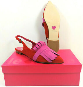 LE BABE ~ Slingback Velour Rosso #1123 Riemchenschuh Sling Pumps rot Gr. 38  NEU