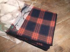 100% Cotton Orange & Navy Blue Check Tartan Pocket Square Handkerchief New
