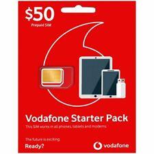 AUSTRALIA VODAFONE PREPAID MOBILE $50 STARTER KIT STANDARD MICRO NANO SIM CARD