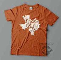Texas Longhorns Hook 'Em Horns Sign Distressed T Shirt Design Adult SM-3XL