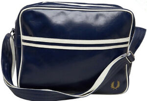 Fred Perry Mens Messenger Bag Classic Shoulder Bag Navy/White Retro style new