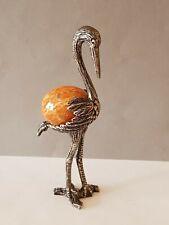 Versilbert Figur Aufsteller mit Steinei.Vogel Storch
