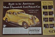 1936 Pontiac Sedan $615 Advertising Blue Green Design 8x12 In Aluminum Sign