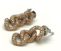 Sterling Silver Two Tone CZ Cluster Oval Link Interlocking Drop Post Earrings