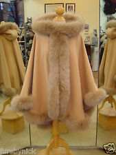 Honey Cashmere Hooded Cape With Fox Fur Trim Beautifully Canadian Label