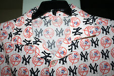 NEW YORK YANKEES Fan Baseball Team MLB Rare Cotton Fabric Shirt Sz L - XL ?