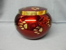 Red w/Black Solid Brass w/Gold Paw Prints Pet Urn~Sm~~28 lbs.~Slightly Imperfect