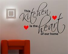 THIS KITCHEN IS THE HEART HOME quote wall art sticker vinyl