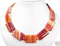 Schöne Halskette aus Edelsteinen Aprikosen-Achat in Rechteckform L-48 cm
