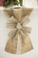 """Burlap & Ecru Lace 9"""" Bows w/Streamers - Wedding Decor, Pew Bow, Chair Sash"""