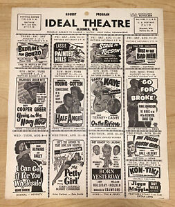 VINTAGE 1951 August Bloomer Wisconsin Ideal Theater Program Bedtime For Bonzo