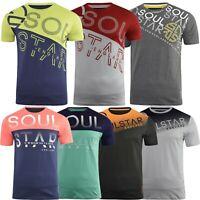 Mens Soulstar Graphic Print T-Shirt Crew Neck Short Sleeve Cotton Blend Gym Top