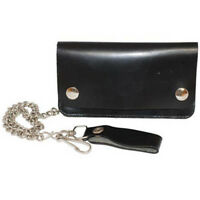 "Black Leather Mens Biker's Chain Wallet Multi-Compartment 7"" Trucker Motorcycle"