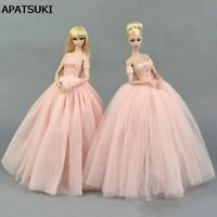 Pink Wedding Dress for Barbie Doll Princess Evening Party Clothes Long Dress Toy