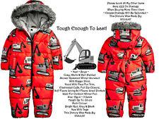 ❄️ Next Little Digger Fleece Lined Fur Hood Warm Body Jump Rain Suit Bright Red