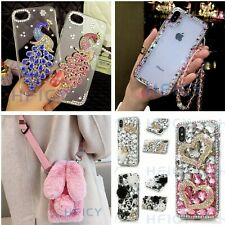 4 in 1 Women Bling Diamonds Phone Cases With 2 Tempered Films & Crystal Strap #F