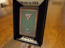 POOL TABLE POOL BALLS BLACK MATTE ZIPPO LIGHTER MINT IN BOX