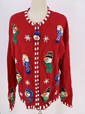 Ugly Christmas Sweater Cardigan Embroidered Snowmen Red Sz L Carolina Colours