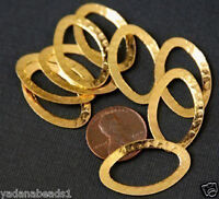 10 pcs of Gold plated hammered oval links 28x17mm