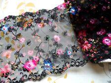 "1Y~8""~Black Multi-color Embroidered Lace Trim Venise Flower Double Edge Wedding"