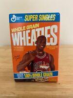 MICHAEL JORDAN CHICAGO BULLS VINTAGE SUPER SINGLES WHEATIES CEREAL BOX - HOF NBA