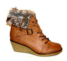 """MTNG UK 5 Brown Fur Trim Lace Up 2.5"""" Wedge Heel Leather Lined New Ankle Boots"""