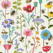 Bee Haven Floral White Background Cotton Fabric 1/2 YARD