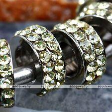 Yellow Crystal Big Hole European Spacer Bead For Charm Bracelet Snake Chain BP