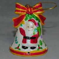 "Christmas Ornament Ceramic BELL Bow Child's SANTA Glossy 3"" RANA'S USA SELLER"