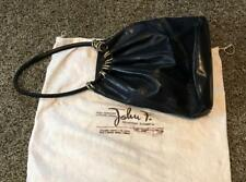 Classic John F Large Black Leather Bag Made In Florence Italy