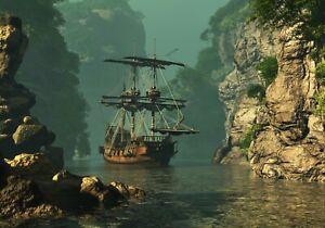 VLIES Fototapete-PIRATENSCHIFF-(3307V)-Segelschiffe Segelboot Klippen Piraten