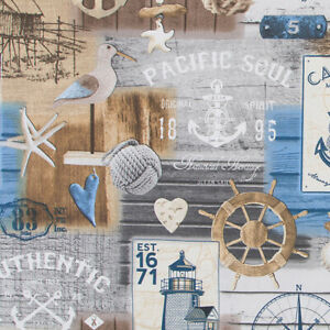 NEU Dekostoff Canvas - Baumwolle  50 x 140 cm  Maritim Möwe Authentic