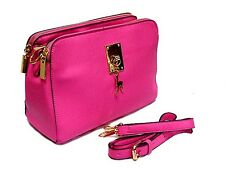 A-SHU LARGE FUCHSIA PINK MULTI-COMPARTMENT SHOULDER / TRAVEL BAG WITH LONG STRAP