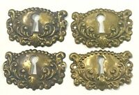 "Lot of 4 Vintage Brass Skeleton Key Hole Cover Escutcheon 1 7/8"" x 1 1/4"""