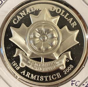 1918-2008 Canada Armistice (Poppy) Sterling Silver Proof Dollar
