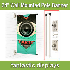 "Wall Mounted Pole Banner Bracket 24"" Hardware Only for Street Banner Prints"