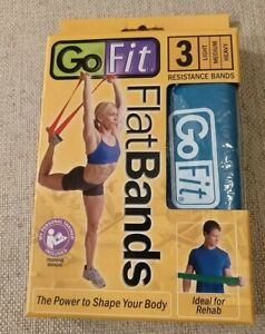 GoFit Resistance Flat Bands w/2 Resistances Med+Heavy only -No Light(Red)OpenBox