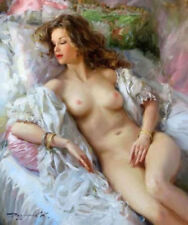 ZWPT576 lying on bed long hair nude girl hand painted art oil painting canvas