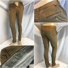 Zara Man Pants 29x31 Brown Floral Cotton Lycra Peg Leg Turkey YGI G8-653