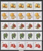 US Postage - PNC coil strips of 5 - Apple, Lemon, Strawberry, Grape, and Pear