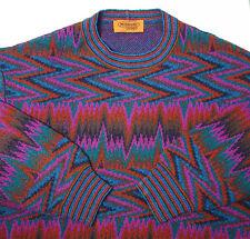 VTG Missoni XL Orange Label Zig Zag Wool Pile Geometric Purple Sweater ITALY