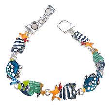 Sea Life Multi Fish & Starfish Metal Enameled Magnetic Fold Over Clasp Bracelet
