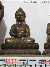 "16""Tibet Buddhism Bronze Three Sakyamuni Amitabha Tathagata Buddha statue Set"