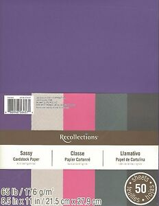 """New Recollections 8.5x11"""" Cardstock Paper Sassy Pink, Purple, Grey 50 Sheets"""